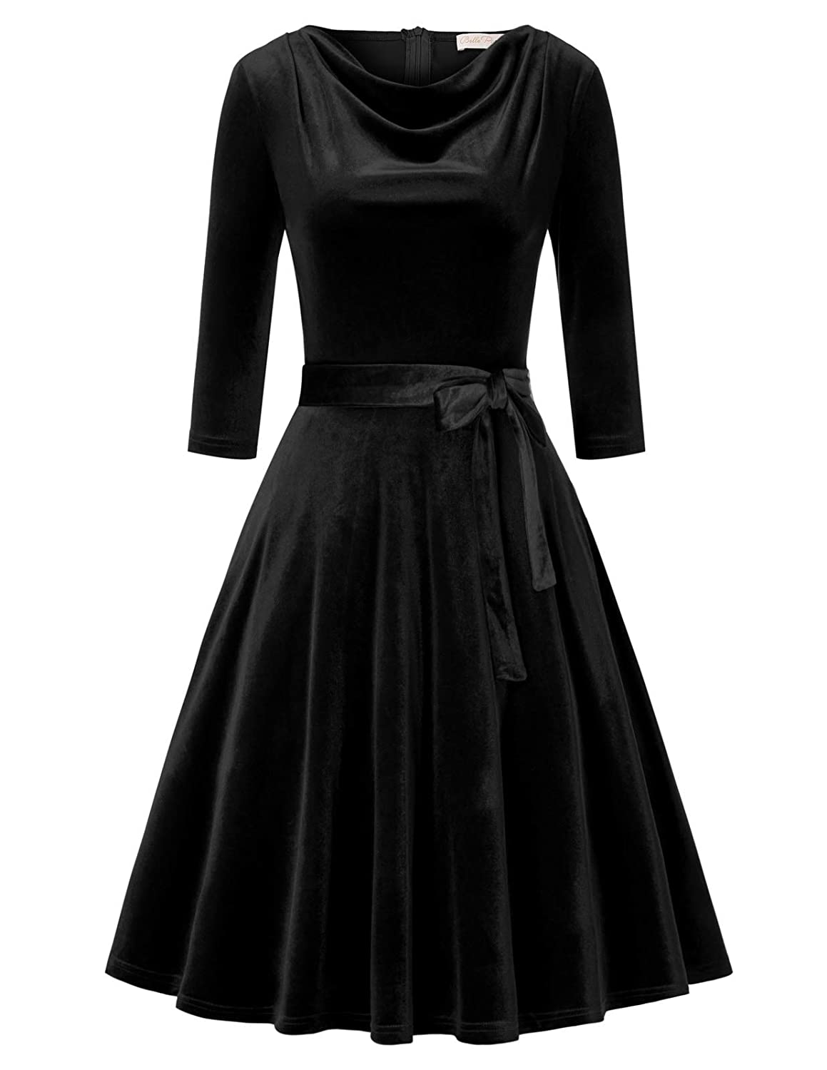 1950s Bridesmaid Dresses | 50s Bridesmaid Dresses Belle Poque Womens Cowl Neck Velvet Dress 1950s Vintage Swing Midi Dresses with Pockets $32.99 AT vintagedancer.com