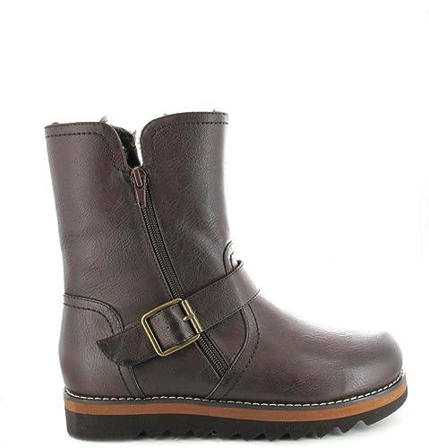 ab9d71069459 Ella Shoes Walnut Ankle Faux Leather Fur Vegan Boots Winter Zip   Amazon.co.uk  Shoes   Bags
