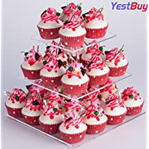 """YestBuy 3 Tier Square Cake Stand (3 Tier Square(4"""" between 2 layers))"""