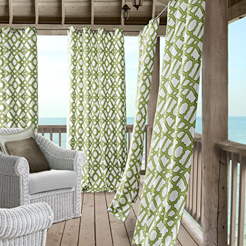 Marin Contemporary Print Indoor/Outdoor Grommet Top Single Panel Window Curtain, Lattice Ironwork Design Drape/Curtain Patio, Gazebo and Pergola, 50 Inch Wide X 84 Inch Long, Green