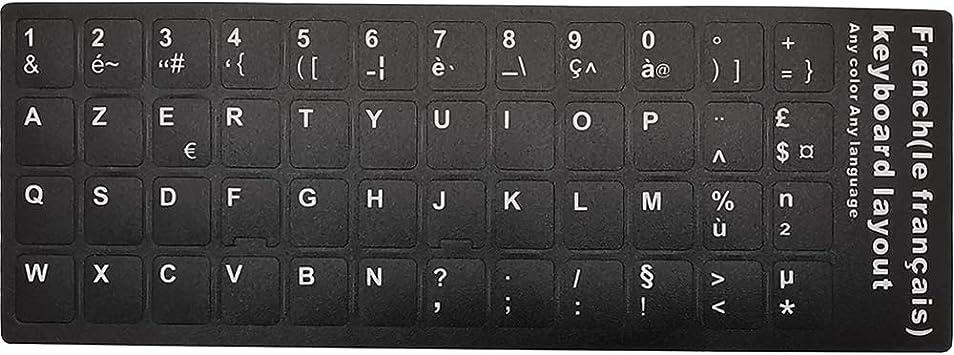 Pegatinas para teclado, letras blancas con fondo negro, para todos los ordenadores portátiles (francés), color negro