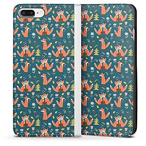 DeinDesign Leder Flip Case kompatibel mit Apple iPhone 7 Tasche H/ülle Fuchs Comic Liebe Love