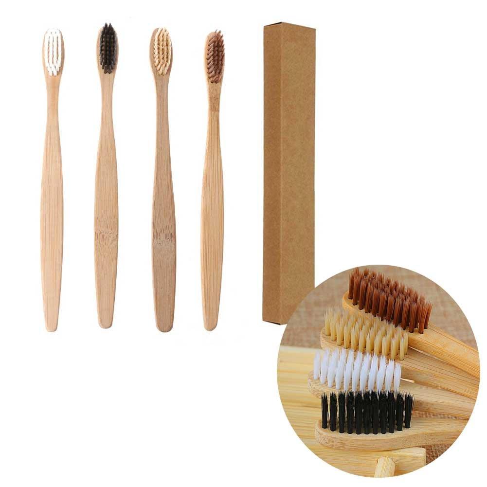 Cepillo de dientes de bambú de carbón infusionado 100% orgánico y biodegradable de madera suave cepillo de dientes natural, sin BPA, ecológico para adultos: ...