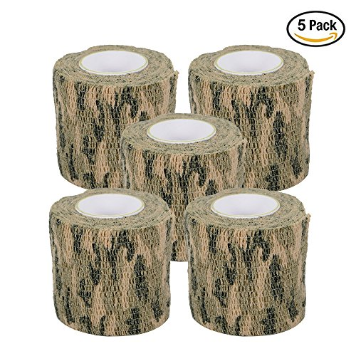 AIRSSON 5 Roll Camouflage Tape Military Camo Stretch Bandage for Gun Rifle Camping Hunting 2″x5 yds Self-adhesive (Woodland Camo)