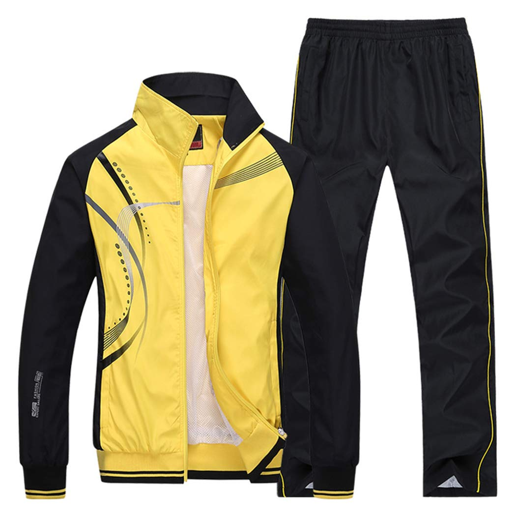 Modern Fantasy Men's Athletic Striped Tracksuit Joggers Running Sports Style Sweat Suits Set Yellow M by Modern Fantasy