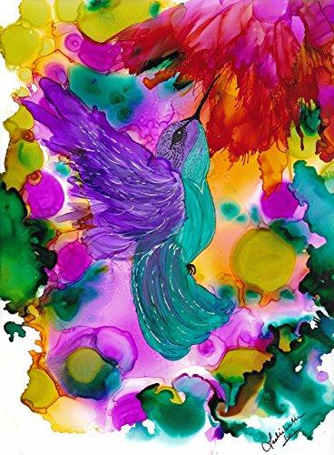 - Humming Bird in Flight Abstract Alcohol Ink Art Print