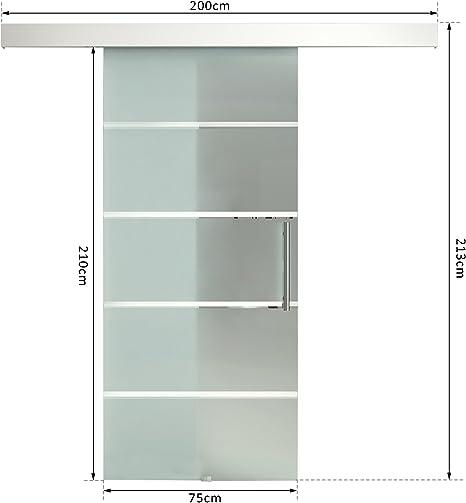 HOMCOM - Kit de pista para puerta corredera de cristal (8 mm ...