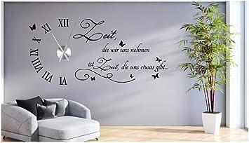 tjapalo® s-tku1 Wanduhr Wandtattoo Uhr Wohnzimmer Wandsticker Wandaufkleber  Spruch - Zeit die wir uns nehmen - mit und ohne Uhrwerk (mit großem Metall  ...