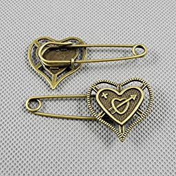 40 PCS Jewelry Making Charms Findings Supply Supplies Crafting Lots Bulk Wholesale Antique Bronze Tone Plated 47438 Heart Safety Pins Brooch