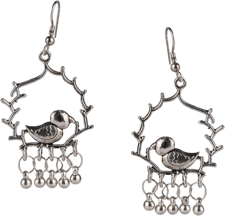 Efulgenz Boho Vintage Antique Ethnic Gypsy Tribal Indian Oxidized Silver Turtle Religious Dangle Earrings Jewelry