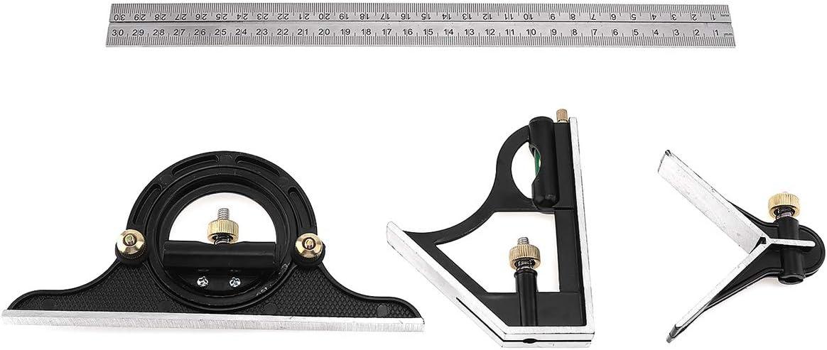 ChgImposs 12 Adjustable Sliding Combination Square Ruler /& Protractor Level Measure Measuring Set Inch//Metric