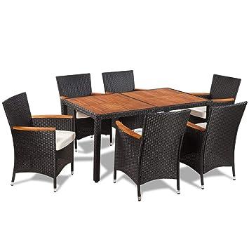 Gartentisch Mit Sechs Stühlen.Festnight 7 Teilige Garten Essgruppe Polyrattan