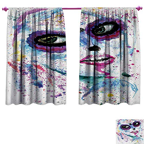 cobeDecor Girls Customized Curtains Grunge Halloween Lady with Sugar Skull Make Up Creepy Dead Face Gothic Woman Artsy Blackout Window Curtain W120 x L72 Blue Purple -