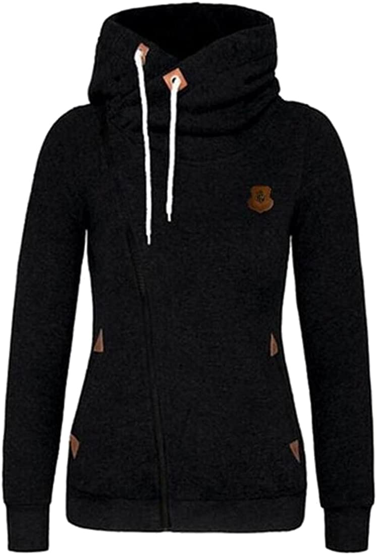 XQS Womens Plus Size Drawstring Zipper Solid Hoodies Sweatshirts Black XXXXL