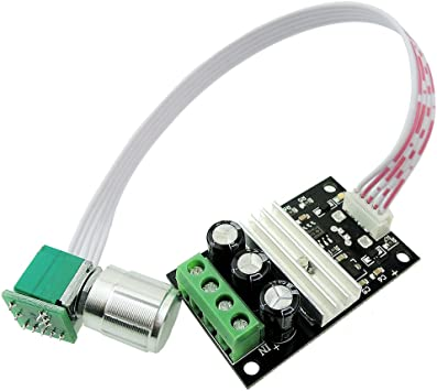 uniquegoods PWM DC Motor Speed Controller 6V 12V 24V 28V 3A Variable Speed Control Switch Electronic Speed Controller Dimmer 1206B with Shell
