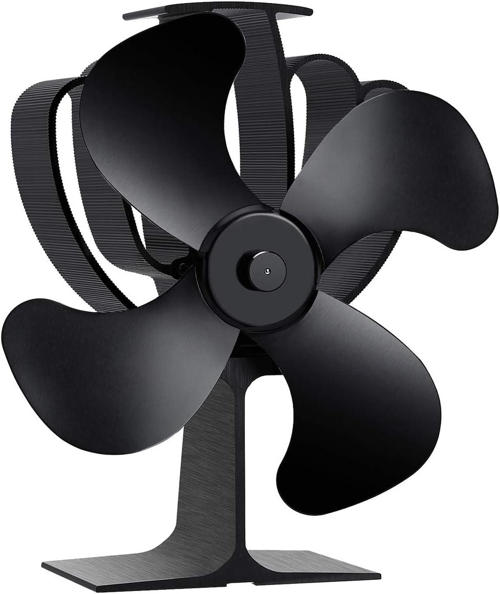 Aobosi Ventilador de estufa con 4 aspas de rotor y sistema de protección contra sobrecalentamiento, ventilador ecológico para estufa de leña y chimeneas, ultra silencioso