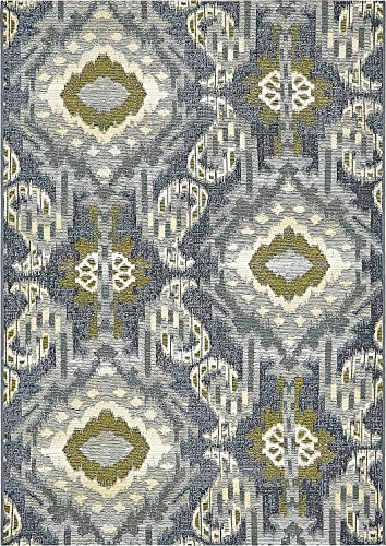Traditional Brown Indoor Rugs - A2Z Rug Indoor/Outdoor Blue 4' x 6' - Feet Marbella Collection Area rugs - Perfect for Outdoor Area's & Indoor