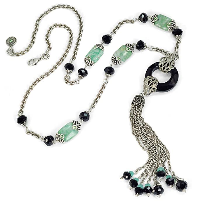 1920s Gatsby Jewelry- Flapper Earrings, Necklaces, Bracelets Sweet Romance Art Deco Necklace Jade Necklace Tassel Necklace Fringe Necklace Deco Necklace Art Deco Jewelry $75.00 AT vintagedancer.com