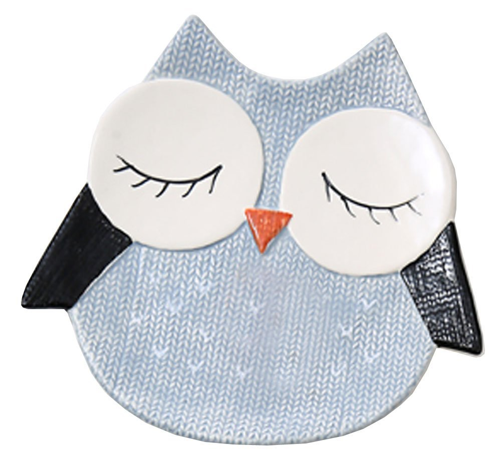 FUYU Cartoon Animal Shape Hand-painted Ceramic Dinner Plate Kid's Plate Appetizer Plate Dessert Plate - Owl/Cat/Fox/Bird