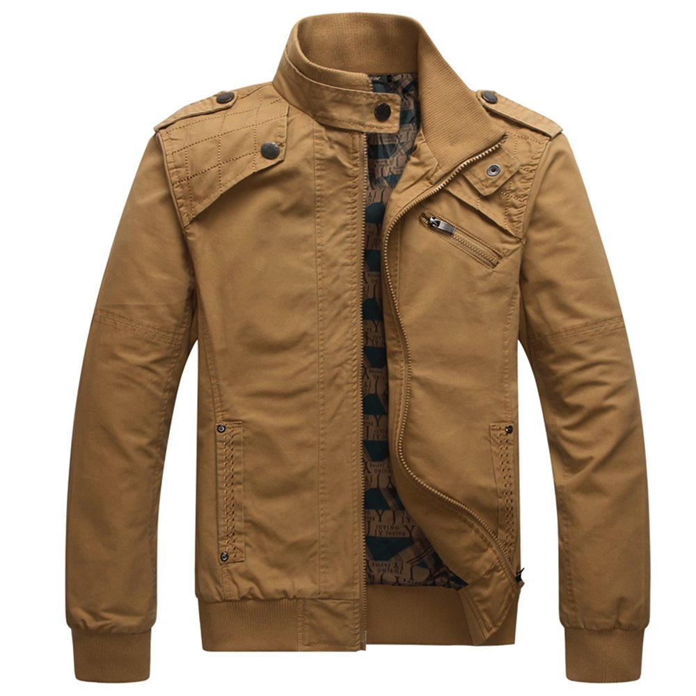 Men Casual Long Sleeve Full Zip Jacket with Shoulder StrapsKQ3L,Khaki,US Large/Tag Asian 3X-Large by Dwar