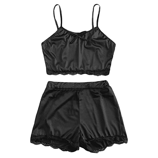 CBJIN Satin Lace Women Sleepwear Sleeveless Tank Bow Lingerie Short Sleep Pajama  Set Nightwear (Black 8b164a1ac