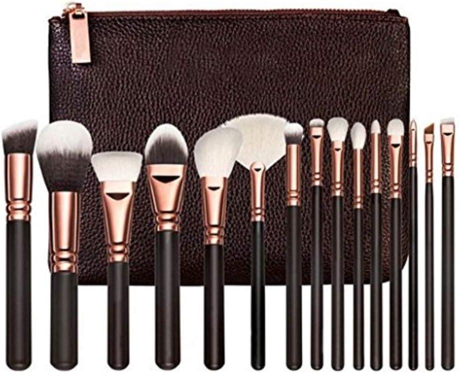 V smile 15pcs Set de cepillo de rosa de oro profesional Set de cepillos de cerdas blandas Kit de cepillos de maquillaje Herramientas de belleza con bolsa de Comstic: Amazon.es: Belleza