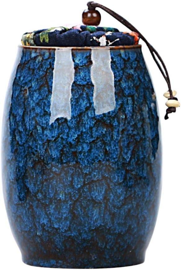 Ceramic Jar Food Storage Jar Canister with Lid, Tea Coffee Spice Nuts Snacks Seasonings Storage Jar (300ML) (Blue)