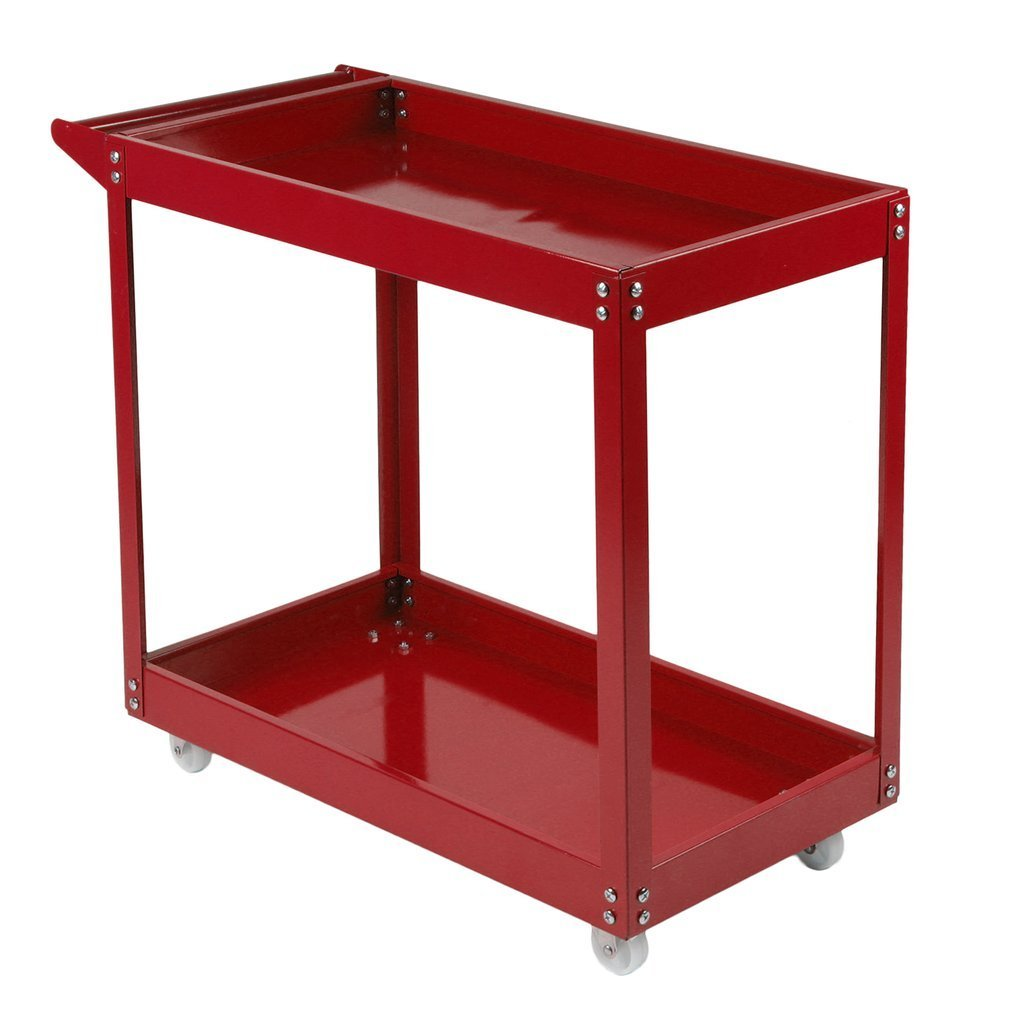 Belovedkai 2 Tray Service Cart,220 LB Load Capacity Tools Cart w/ 4 Wheels (red)