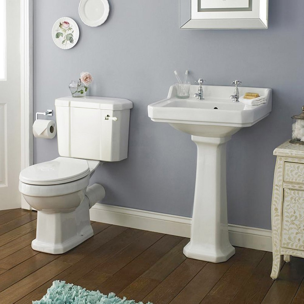 Rockingham 4 Pc Suite 2TH Home Standard® Rockingham Traditional Bathroom White Ceramic Toilet & Basin Suite   2 Tap Hole   560mm Basin
