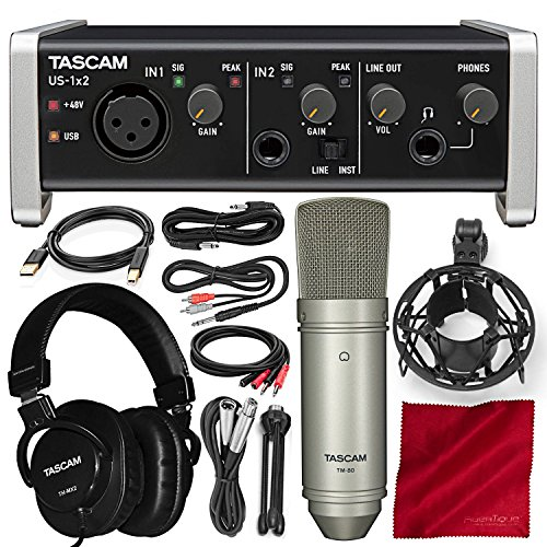 Tascam US-1X2 1 In 2 out USB Audio & MIDI Interface with HDDA Mic Preamps and iOS Compatibility with Microphone, Headphones, and Platinum Bundle.