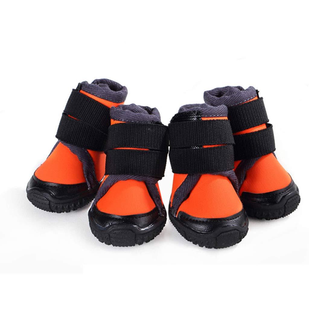 orange 70 orange 70 Outdoor Big Dog shoes Straps Pet shoes Set of 4 Than Xiong Ke Fund Hair Slip Anti-Sewage Foot Cover (color   orange, Size   70)