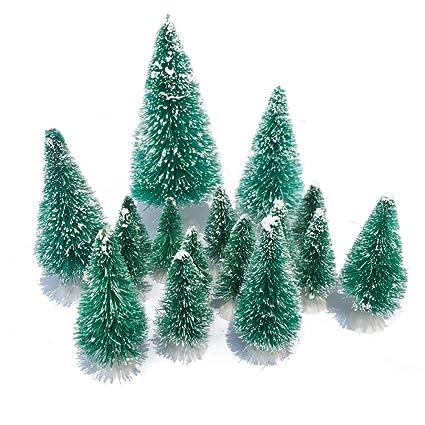 mini snow globe christmas trees tabletop fake bottle brush decor craft christmas village flocked pine trees