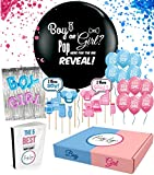 Gender Reveal Party Supplies Kit by PartyLogic| The Most Complete Decoration Kit | Gender Reveal Balloon, Photo Booth Props, Confetti and More! | 5 Fun Gender Reveal Games Included!
