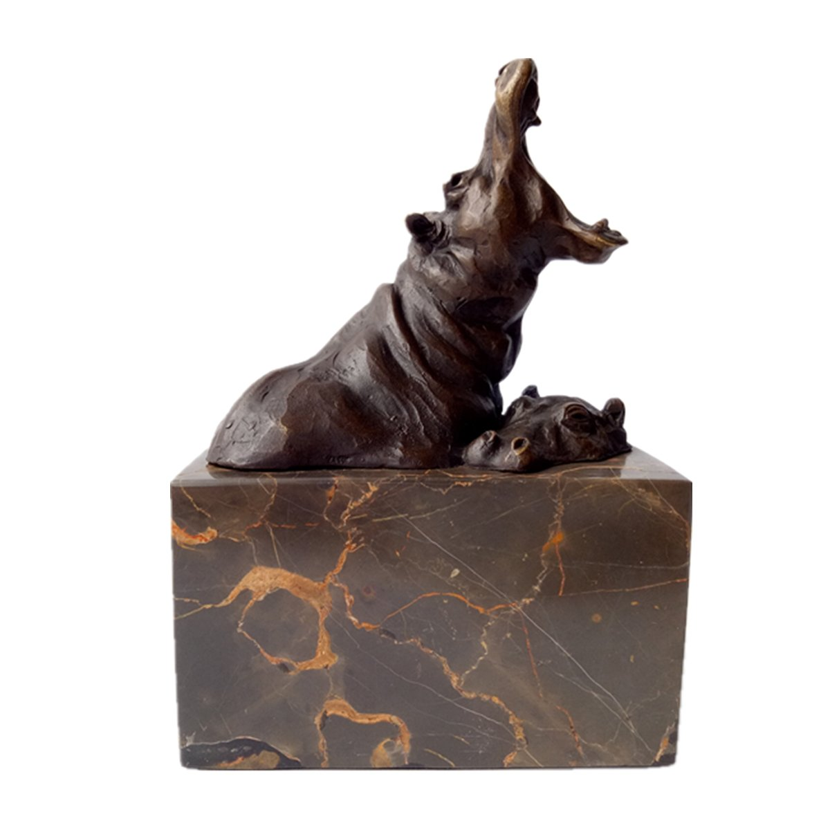 Toperkin Hippo Statue Bronze Sculpture African Hippopotamus Sculpture Animal TPAL-276