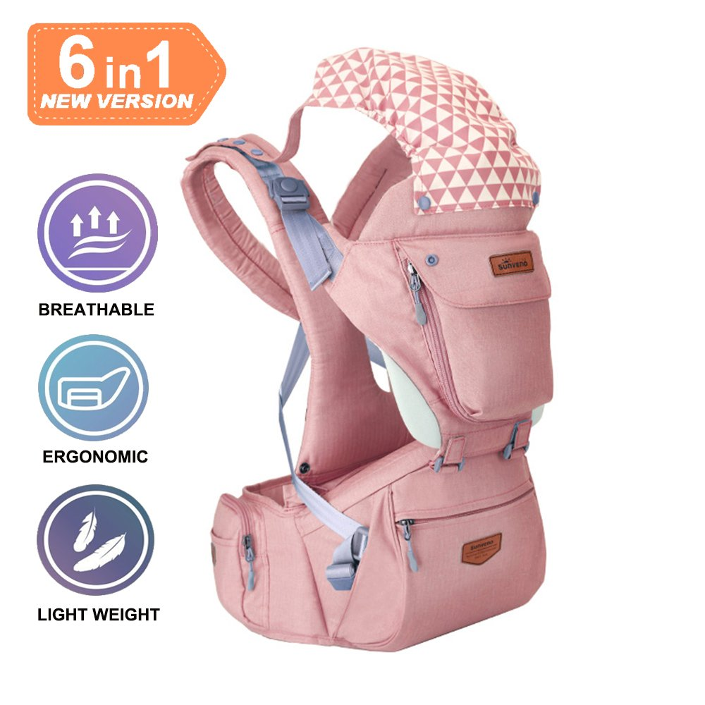 Gossipyboy 360 Baby Carrier One for All Seasons with 6 Pocket to Storage, 6 in 1 Breathable 360 Ergonomic Hip Seat for Growing Baby (Newborn, Infant & Toddler) (Pink)