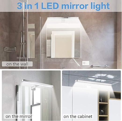 Aplique Espejo Baño, Infankey 3 en 1 Lámpara de Espejo Baño 5W 220V 30CM 400LM 4000K, Luz Blanca Neutra, IP44 Impermeable, para Espejo/Gabinete/Pared [Clase de Eficiencia Energética A+]: Amazon.es: Iluminación