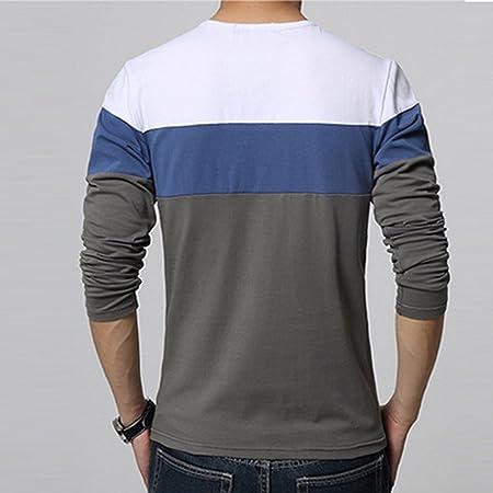 Camiseta Para Hombre Manga Larga Superior Camisetas Algodón Mezclado Básica Blusa O Cuello Sudadera Largo Azul L Nhhiha9t