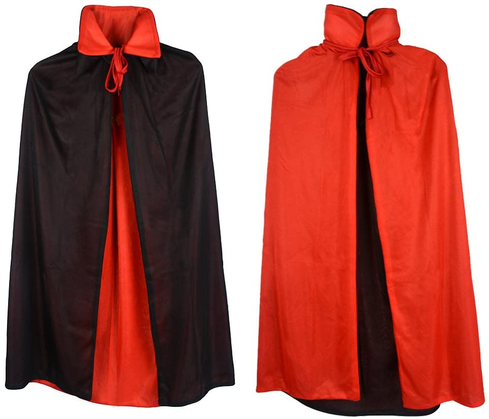 "Gardeningwill Custome Black Red Reversible Dress Goth Devil Pirate Vampire Demon 47"" Cloak for Men Women"