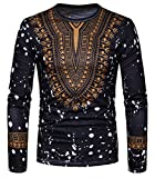 Oberora-Men Vintage Long Sleeve Africa Floral Print Dashiki Shirt Blouse Tops Black XL