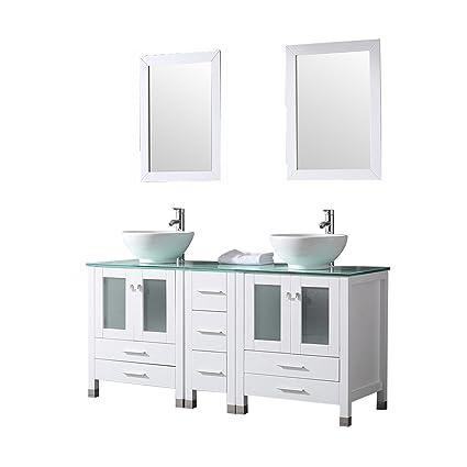 sliverylake 60 double sink bathroom vanity cabinet glass top w rh amazon com Wood Bathroom Vanity Cabinets Craftsman Style Bathroom Vanity Cabinets