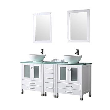 Sliverylake 60 Double Sink Bathroom Vanity Cabinet Glass Top W