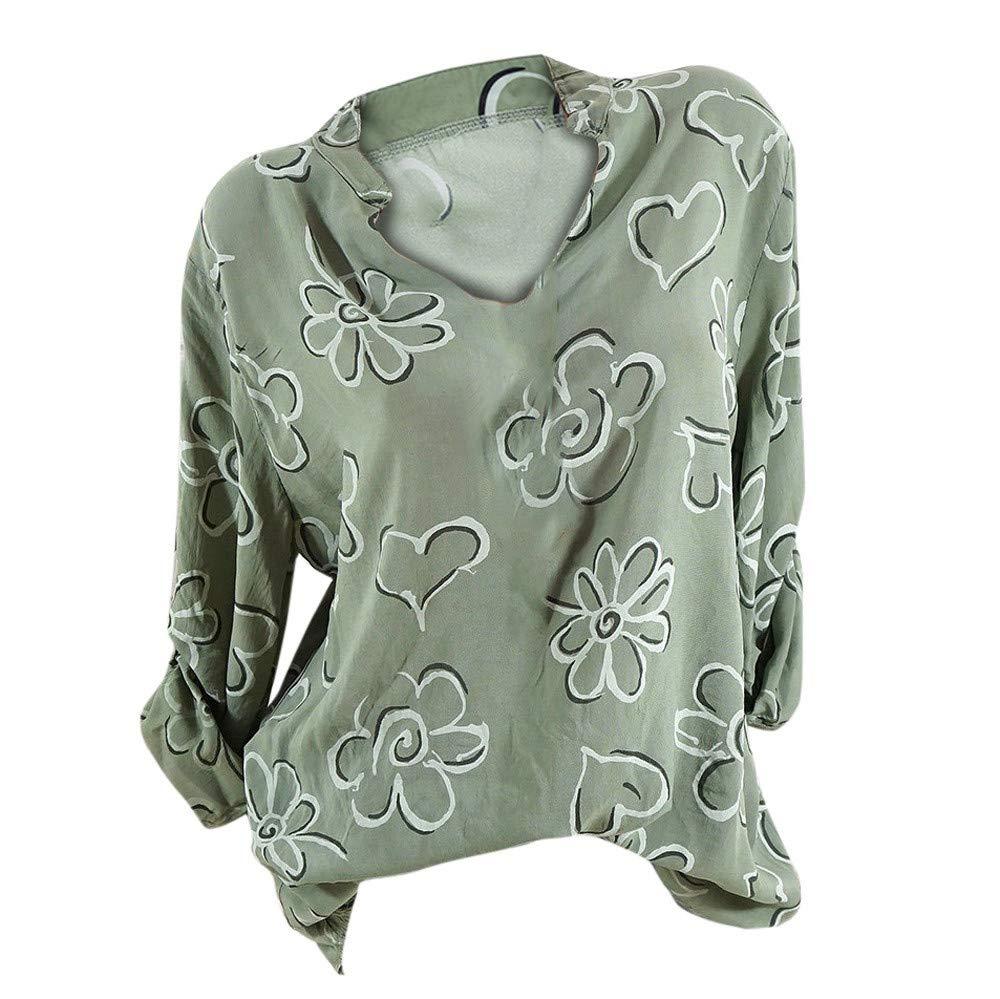 Women Shirt Long Sleeve V Neck Plus Size Print Casual Tunic Tops Blouse (XXXXL, Green)
