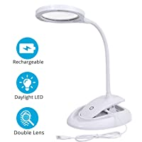 eSynic Lámpara LED de Aumento de 5X 10X Recargable Lupa Lámpara con Abrazada de Metal y 3 Configuraciones de Luz Ajustable para Leer, Hobbies, Manualidades