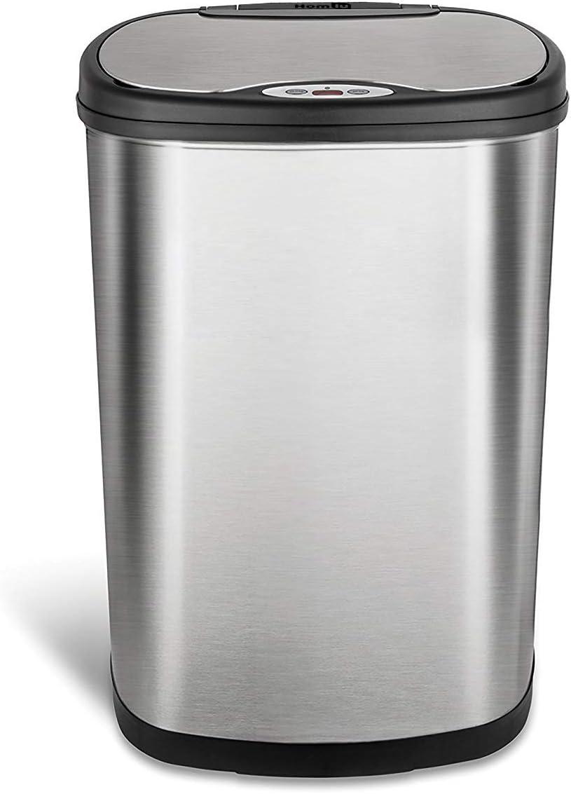 Homiu Recycle Mülleimer Edelstahl Bewegungsmelder Mülleimer