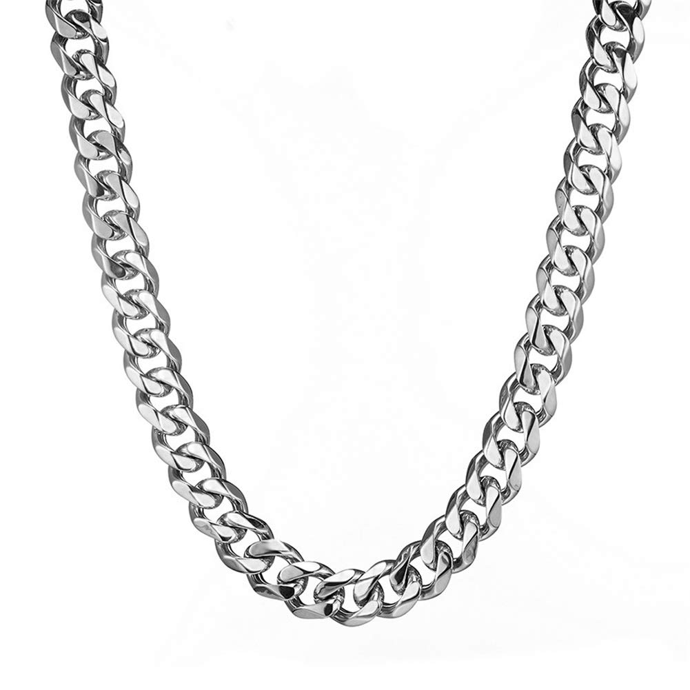Mens Stainless Steel Silver Tone 15MM Heavy Cuban Curb Link Chain Bracelet Necklace Loveshine LQN244-15mm-10in