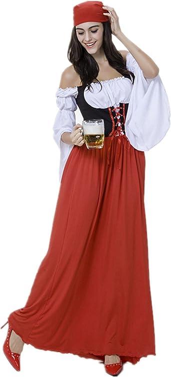 xiemushop Disfraz de bavara Mujer Vestido de Oktoberfest Cosplay ...