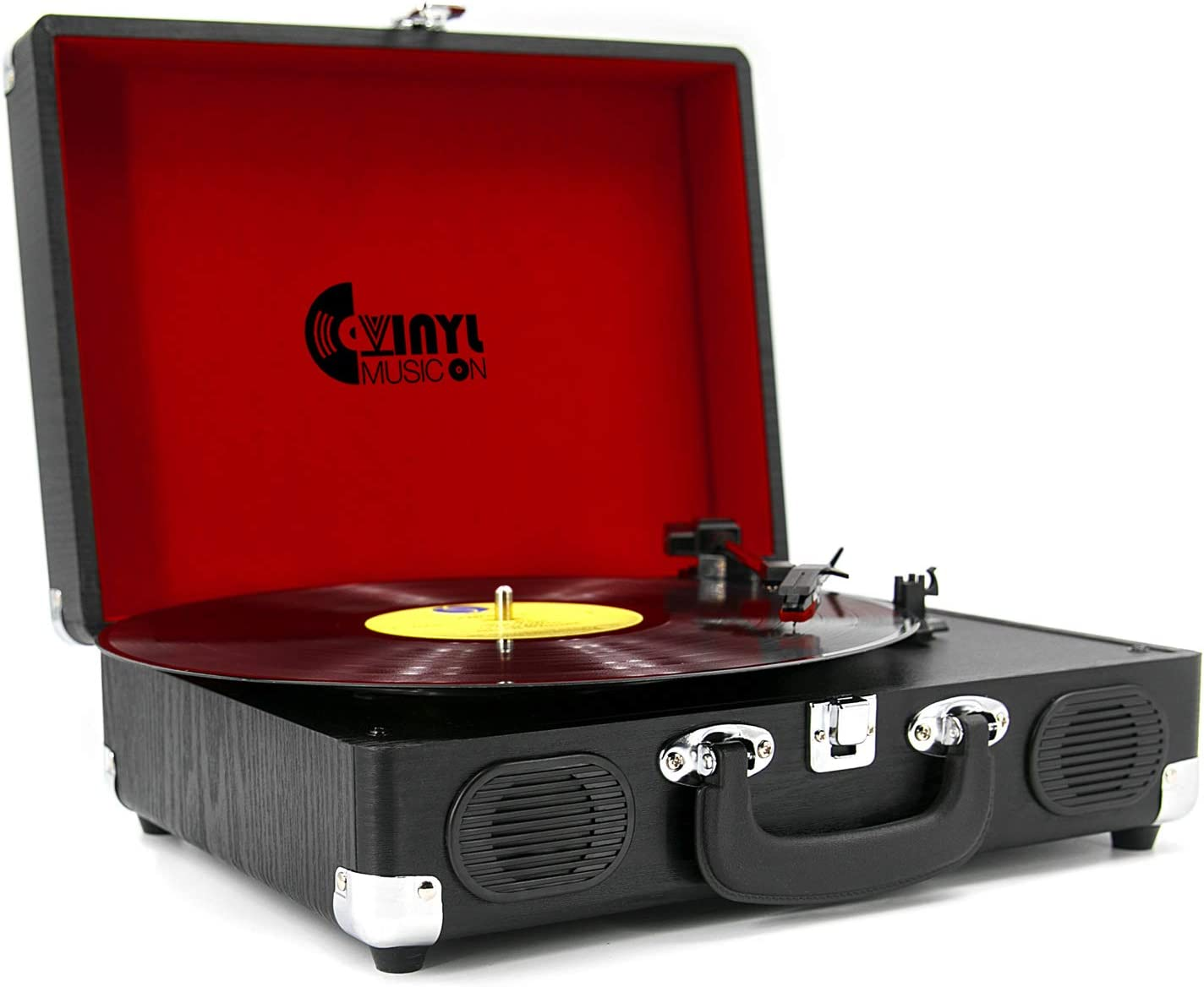 VMO Retro Style Record Player with Built-in Speakers, Classic Wooden Suitcase Turntable for 33,45,78 RPM Vinyl Records(Black Wood)