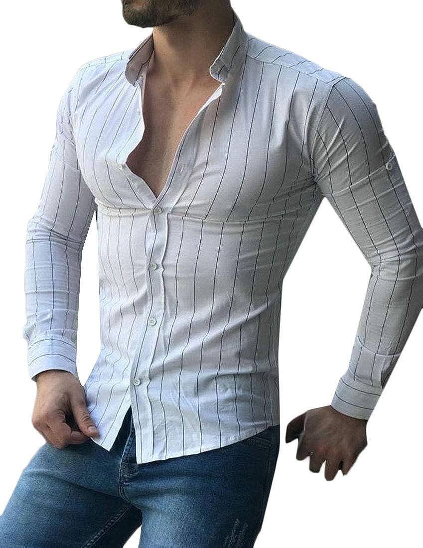 Generic Mens Stylish Stripe Long Sleeve Slim Nightclub Button Front Shirts