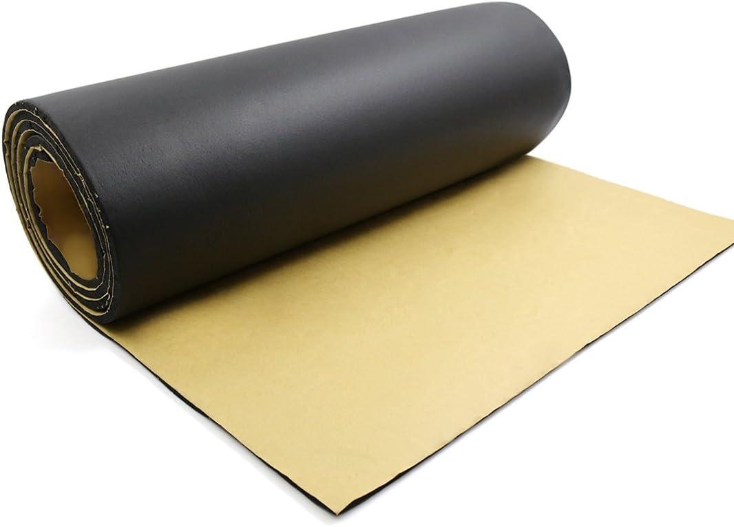 sourcing map 200cm x 50cm Vehículo Insonorizante Forro Negro Papel Adhesivo 10mm de Espesor Espuma Aislante Aislamiento Acústico Amortiguación de Sonido de Coche
