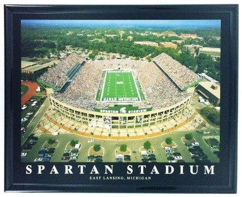 Framed Michigan Spartan Stadium Aerial Stadium Print Wall Art F7530A ()